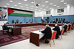 Palestinian President Mahmoud Abbas, chairs a meeting of the Central Committee of the Fatah movement, in the West Bank city of Ramallah, on May 05, 2020. Photo by Thaer Ganaim