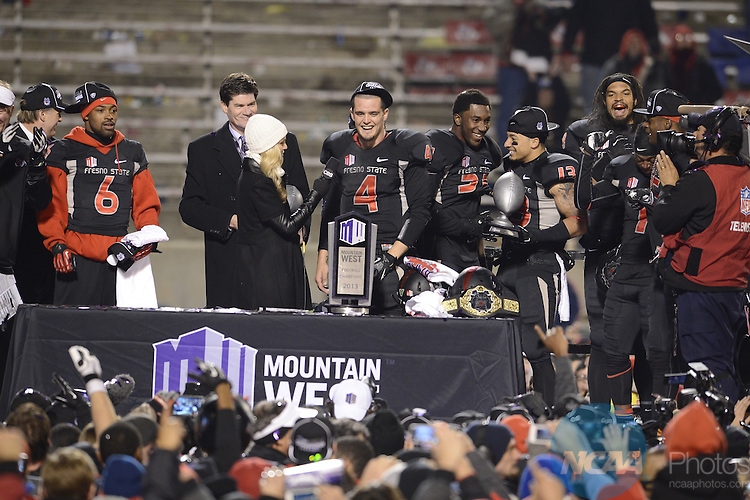 07 DEC 2013:  Fresno State University takes on Utah State University at the inaugural Mountain West Football Championship held at Bulldog Stadium in Fresno, CA. Fresno State went on to defeat Utah State 24-17 to claim the championship title.  Ryan McKee/NCAA Photos