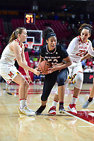 College Park, MD - NOV 13, 2017: South Carolina Gamecocks guard Tyasha Harris (52) splits two Maryland defenders guard Sarah Myers (21) and Blair Watson (22) during game between No. 4 ranked South Carolina and the No. 15 Maryland Terrapins at the XFINITY Center in College Park, MD. The Gamecocks defeated Maryland 94-86.  (Photo by Phil Peters/Media Images International)