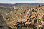 Rock spires and high altitude valley in dry puna, Abra Granada, Andes, northwestern Argentina