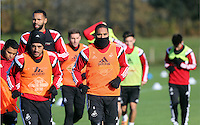 Pictured: Ashley Williams Wednesday 05 November 2014<br /> Re: Swansea City FC players training at Fairwood training ground, ahead of their Premier League game against Arsenal on Sunday.