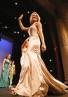 12 July, 2008:    Miss Tri-Cities Kristin Cox showed off her evening wear to the judges in the Evening Wear competition on stage during the 2008 Miss Washington pageant at the Pantages Theater in Tacoma , Washington.