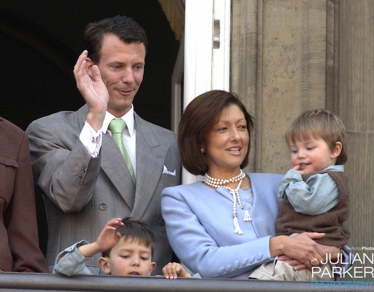Prince Joachim & Princess Alexandra with children Felix & Nikolai appear on the balcony of The Amalienborg Palace in Copenhagen to celebrate The Queen of Denmark's 64th birthday..