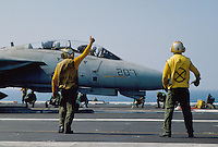 "- F 14 ""Tomcat"" fighter aircraft on Kennedy aircraft carrier....- aereo da caccia F 14 ""Tomcat"" a bordo della portaerei Kennedy.."