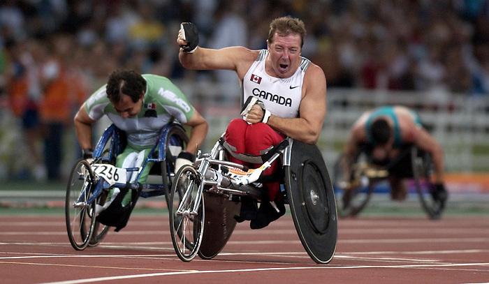 André Beaudoin obtient une médaille d'or au 200 mètres.  (Jean-Baptiste Benavent 27 septembre).