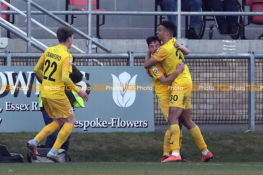 Matty Waters of Chester is congratulated after scoring the second goal during Dagenham & Redbridge vs Chester, Vanarama National League Football at the Chigwell Construction Stadium on 24th February 2018