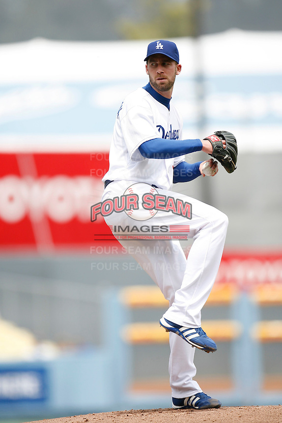 Mark Hendrickson of the Los Angeles Dodgers during a 2007 MLB season game at Dodger Stadium in Los Angeles, California. (Larry Goren/Four Seam Images)