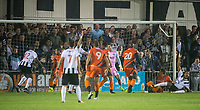Adebayo Akinfenwa (20) of Wycombe Wanderers scores an own goal to give Maidenhead a 1 0 win during the Pre Season Friendly match between Maidenhead United and Wycombe Wanderers at York Road, Maidenhead, England on 28 July 2017. Photo by Andy Rowland.