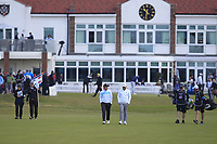 Paul Dunne (IRL) and Tyrrell Hatton (ENG) on the 1st fairway during Round 3 of the Betfred British Masters 2019 at Hillside Golf Club, Southport, Lancashire, England. 11/05/19<br /> <br /> Picture: Thos Caffrey / Golffile<br /> <br /> All photos usage must carry mandatory copyright credit (&copy; Golffile | Thos Caffrey
