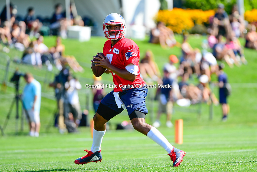 July 28, 2017: New England Patriots quarterback Jacoby Brissett (7) drops back to pass at the New England Patriots training camp held at Gillette Stadium, in Foxborough, Massachusetts. Eric Canha/CSM