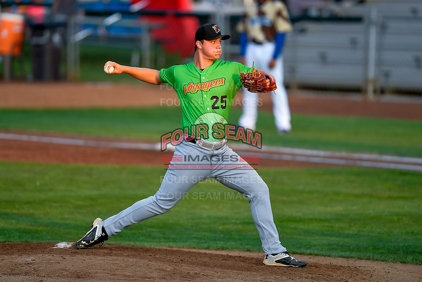 Great Falls Voyagers starting pitcher Chris Comito (25) delivers a pitch to the plate against the Ogden Raptors in Pioneer League action at Lindquist Field on August 18, 2016 in Ogden, Utah. Ogden defeated Great Falls 10-6. (Stephen Smith/Four Seam Images)