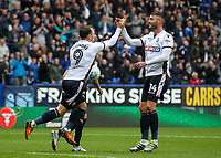 Bolton Wanderers' Adam Le Fondre celebrates scoring from the penalty spot with team mate Gary Madine<br /> <br /> Photographer Andrew Kearns/CameraSport<br /> <br /> The EFL Sky Bet Championship - Bolton Wanderers v Leeds United - Sunday 6th August 2017 - Macron Stadium - Bolton<br /> <br /> World Copyright &copy; 2017 CameraSport. All rights reserved. 43 Linden Ave. Countesthorpe. Leicester. England. LE8 5PG - Tel: +44 (0) 116 277 4147 - admin@camerasport.com - www.camerasport.com