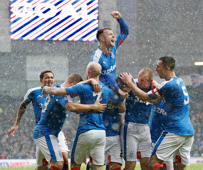 Danny Wilson mobbed after scoring for Rangers as Andy Halliday gives it large