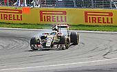 Romain Grosjean (France) of team Lotus formula 1 car number 8 takes the hairpin corner hard during the Canadian Grand Prix at circuit Gilles-Villeneuve in Montreal