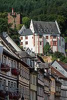Hauptstaße und Burg, Miltenberg in Unterfranken, Bayern, Deutschland