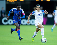 HOUSTON, TX - JANUARY 31: Melissa Herrera #7 of Costa Rica advances the ball with Nerilia Mondesir #10 of Haiti in pursuit during a game between Haiti and Costa Rica at BBVA Stadium on January 31, 2020 in Houston, Texas.