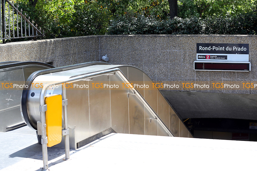 Entrance to Rond-Point du Prado Metro Station, one of two Metro Stations very close to the Stadium during a visit to the Stade Velodrome, home of Olympique de Marseille ahead of UEFA Euro 2016 on 22nd May 2016