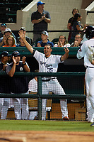 Lakeland Flying Tigers Reynaldo Rivera (35) celebrates in the dugout during a Florida State League game against the Tampa Tarpons on April 5, 2019 at Publix Field at Joker Marchant Stadium in Lakeland, Florida.  Lakeland defeated Tampa 5-3.  (Mike Janes/Four Seam Images)