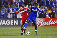 Kei Kamara (blue), Wilman Conde...Kansas City Wizards played to a 2-2 tie with Chicago Fire at Community America Ballpark, Kansas City, Kansas.