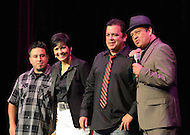 "September 13, 2011 (Washington, DC)  (L-R) Comedians Chris Storin, Shayla Rivera, Mike Robles and host Paul Rodriguez on stage at the Warner Theater in Washington for the 11th Annual ""Reyes of Comedy"" presented by The Congressional Hispanic Caucus Institute (CHCI).   (Photo by Don Baxter/Media Images International)"