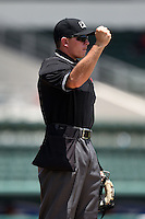 Umpire Josh Havens makes a call during a game between the GCL Rays and GCL Red Sox on June 25, 2014 at JetBlue Park at Fenway South in Fort Myers, Florida.  GCL Red Sox defeated the GCL Rays 7-0.  (Mike Janes/Four Seam Images)