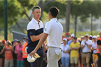 Justin Rose (ENG) and Haotong Li (CHN) finish all square on the 18th green at the end of Sunday's Final Round of the 2018 Turkish Airlines Open hosted by Regnum Carya Golf &amp; Spa Resort, Antalya, Turkey. 4th November 2018.<br /> Picture: Eoin Clarke | Golffile<br /> <br /> <br /> All photos usage must carry mandatory copyright credit (&copy; Golffile | Eoin Clarke)