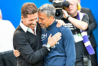 Diego Simeone manager of Atletico Madrid and Chris Hughton Manager of Brighton & Hove Albion during the pre season friendly match between Brighton and Hove Albion and Atletico Madrid at the American Express Community Stadium, Brighton and Hove, England on 6 August 2017. Photo by Edward Thomas / PRiME Media Images.