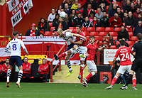 Jason Pearce of Charlton Athletic and Jayden Stockley of Preston North End go up for a header during Charlton Athletic vs Preston North End, Sky Bet EFL Championship Football at The Valley on 3rd November 2019