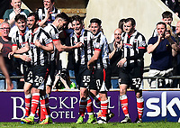 Grimsby Town's Sam Jones celebrates scoring his team's second goal with his team-mates<br /> <br /> Photographer Richard Martin-Roberts/CameraSport<br /> <br /> The EFL Sky Bet League Two - Blackpool v Grimsby Town - Saturday 8th April 2017 - Bloomfield Road - Blackpool<br /> <br /> World Copyright &copy; 2017 CameraSport. All rights reserved. 43 Linden Ave. Countesthorpe. Leicester. England. LE8 5PG - Tel: +44 (0) 116 277 4147 - admin@camerasport.com - www.camerasport.com