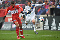 Bridgeview, IL - Saturday April 14, 2018: Johan Kappelhof, Sebastian Lletget during a regular season Major League Soccer (MLS) match between the Chicago Fire and the LA Galaxy at Toyota Park.  The LA Galaxy defeated the Chicago Fire by the score of 1-0.