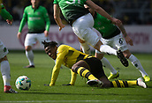 18th March 2018, Dortmund, Germany;  Football Bundesliga, Borussia Dortmund versus Hannover 96 at the Signal Iduna Park. Dortmund's Michy Batshuayi slips as he turns his defender early in the game