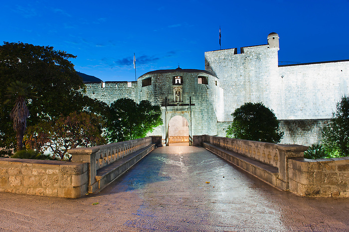 Photo of Pile Gate, the entrance to Dubrovnik Old Town at night, Croatia. This is a photo of Pile Gate, the entrance to Dubrovnik Old Town at night, on the Dalmatian Coast of Croatia.