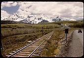 RGS track approaching Highway 62 crossing at Peak.<br /> RGS  Peak (near), CO  Taken by Maxwell, John W. - 5/31/1946