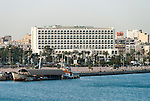 View of the Grand hotel on the waterfront in Tripoli, Libya