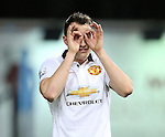 Manchester United's Phil Jones complains to the linesman <br /> <br /> Barclays Premier League- West Ham United vs Manchester United  - Upton Park - England - 8th February 2015 - Picture David Klein/Sportimage