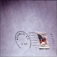 Close up on Washington D.C. postal cancelation mark and 29 cent stamp