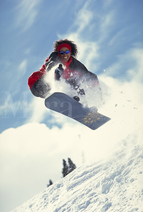 Woman, Scenic, Active Lifestyle, Winter, Snowboarding, Snowboarder, Sports, Exercise, Training, Fitness, Extreme, Wilderness, Jumping, Air, Terrain Park, Adventure, Action, Fun, Vacation. Melissa Terhorst (MR 615). Backcountry Colorado United States Rocky