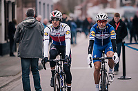 teammates Zdenek Stybar (CZE/Quick-Step Floors) &amp; Philippe Gilbert (BEL/Quick Step floors) off to the race start<br /> <br /> 61th E3 Harelbeke (1.UWT)<br /> Harelbeke - Harelbeke (206km)