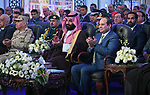 Egyptian President Abdel Fattah al-Sisi and Saudi Arabia's Crown Prince Mohammed bin Salman visit the Suez Canal in the city of Ismailia, east of the capital Cairo on March 5, 2018. Photo by Egyptian President Office