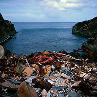 Rubbish and junk dumped on a beach.St Barts , Caribbean 1979