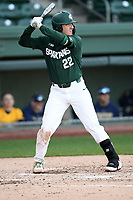 Second baseman Bailey Peterson (22) of the Michigan State Spartans bats in a game against the Merrimack Warriors on Saturday, February 22, 2020, at Fluor Field at the West End in Greenville, South Carolina. Merrimack won, 7-5. (Tom Priddy/Four Seam Images)