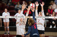 STANFORD, CA - October 14, 2016: Audriana Fitzmorris,Ivana Vanjak at Maples Pavilion. The Arizona Wildcats defeated the Cardinal 3-1.