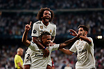 Real Madrid's Mariano Diaz and Marcelo Vieira celebrate goal during Champions League match. September 19, 2018. (ALTERPHOTOS/A. Perez Meca)