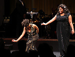 Adriane Lenox & Amber Riley (GLEE) during the Curtain Call for Encores! 'Cotton Club Parade' at City Center in New York City on 11/17/2012