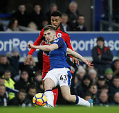 2nd December 2017, Goodison Park, Liverpool, England; EPL Premier League football, Everton versus Huddersfield Town; Jonjoe Kenny of Everton plays a ball into the Huddersfield Town area as Elias Kachunga looks on