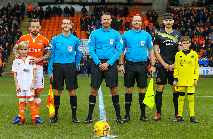 Players, officials, mascots<br /> <br /> Photographer Alex Dodd/CameraSport<br /> <br /> The EFL Sky Bet League One - Blackpool v Shrewsbury Town - Saturday 19 January 2019 - Bloomfield Road - Blackpool<br /> <br /> World Copyright © 2019 CameraSport. All rights reserved. 43 Linden Ave. Countesthorpe. Leicester. England. LE8 5PG - Tel: +44 (0) 116 277 4147 - admin@camerasport.com - www.camerasport.com