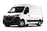 Stock pictures of low aggressive front three quarter view of a 2020 Renault Master Confort 4 Door Cargo Van