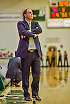 4 February 2014: University of Vermont Catamount Head Coach John Becker watches play against the University of Maine Black Bears at Patrick Gymnasium in Burlington, Vermont. The Cats defeated the Bears 93-65 improving to 9-1 in America East and 15-9 overall. Mandatory Credit: Ed Wolfstein Photo *** RAW (NEF) Image File Available ***