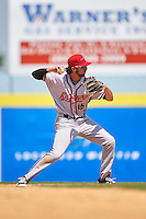 Richmond Flying Squirrels second baseman Brandon Bednar (16) throws to first during a game against the Binghamton Mets on June 26, 2016 at NYSEG Stadium in Binghamton, New York.  Binghamton defeated Richmond 7-2.  (Mike Janes/Four Seam Images)