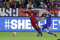 Carson, CA - Sunday January 28, 2018: Tyler Adams, Marijan Ćavar during an international friendly between the men's national teams of the United States (USA) and Bosnia and Herzegovina (BIH) at the StubHub Center.